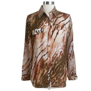 CHICO'S Brown Sheer Animal Print Button-down